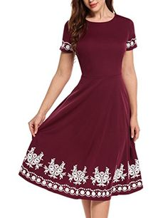 3f23b2ecfa HOTOUCH Women O-Neck Short Sleeve Print Fit and Flare Swing Dress(Wine Red