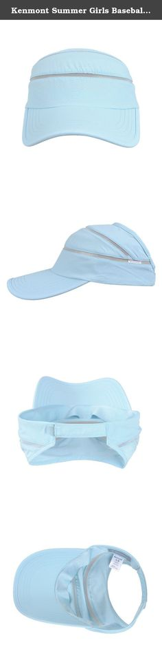Kenmont Summer Girls Baseball Cap Outdoor Topless Visor Sport Tennis Sun Hat (Light Blue). --Brand: Kenmont --SKU: KM-4886 --Color: 14-Light Blue; 76-Orange; 77-Light Pink --Size: One Size-56CM(22.05inches)-Adjustable --Material: Fabric: 100% Polyamide Mesh: 100% Polyester Sweat Band: 100% Polyester.