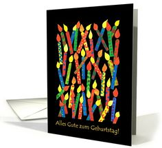 Birthday Candles Card With German Greeting