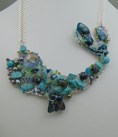 Sterling Silver Fish Necklace w Turquoise by LAHOOTEJewellry