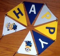 MINION Handmade PERSONALISED BUNTING  Party or Name Banner CHOOSE CHARACTER !