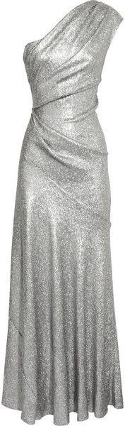 DONNA KARAN NEWYORK One Shoulder Sequined Stretch Mesh Gown