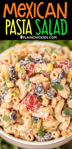 Mexican Pasta Salad seriously delicious Easy to make and great for a crowd Pasta red onion green onion corn black beans tomatoes cilantro tossed in a quick dressing of r. Salads For A Crowd, Food For A Crowd, Main Dish Salads, Greek Salad Pasta, Soup And Salad, Pasta Salad Ranch, Pasta Dishes, Food Dishes, Side Dishes
