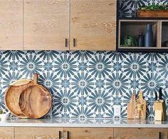 cle big al cement tile Blue Kitchen Tiles, Kitchen Redo, Kitchen Colors, Kitchen Remodel, Colourful Kitchen Tiles, Patterned Kitchen Tiles, Kitchen Renovations, Kitchen Ideas, Kitchen Design