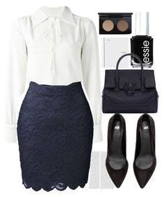 """""""Back to school 7"""" by erohina-d ❤ liked on Polyvore featuring beauty, See by Chloé, Oris, Essie, LE3NO, Versace and MAC Cosmetics"""