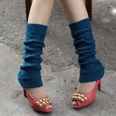 Blue Chunky  Knit Leg Warmers   Boot Cuff Leg Sleeve by elgies, $22.00