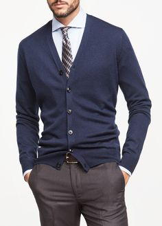 Navy Blue V Neck Wool Cardigan Look by H.E. Mango