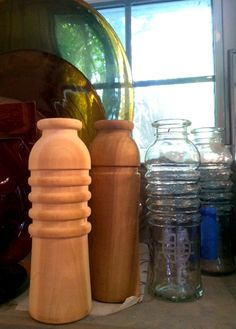 Early carvings and designs of our original reusable glass water bottles.