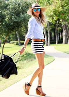 Gap Black & White Stripe Shorts, Blue Shirt, Floppy Hat #fashionjackson