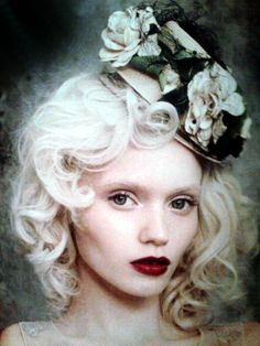 Victorian White Curls with deeeeep red lips!