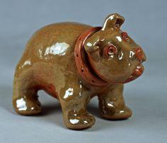 LIL' BULLDOG with COLLAR Small Stoneware Dog Sculpture