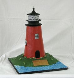 """Lighthouse  Lighthouse This was carved from 5 6"""" cakes and the land is carved from a 10"""" cake. Thanks for looking.  #featured-cakes #leannew #cakecentral"""
