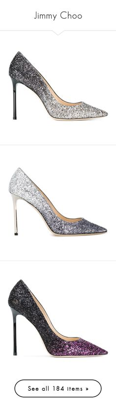 """""""Jimmy Choo"""" by bleubeauty1 ❤ liked on Polyvore featuring shoes, pumps, heels, grey, high heeled footwear, leather slip on shoes, grey leather pumps, metallic pumps, pointy-toe pumps and grey shoes"""
