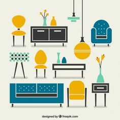 modern furniture Free Vector