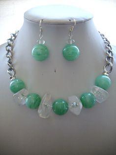 Seafoam Green and Kelly Green Swirl Glass by DesignsbyPattiLynn, $55.00