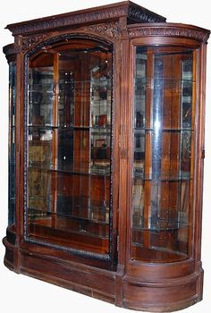 Antique China Cabinets | Walnut triple bow front antique china ...