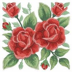 Watercolor Red Roses 11(Md) machine embroidery designs