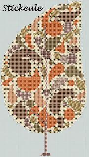 Retro Leaf Free Cross Stitch Pattern Chart