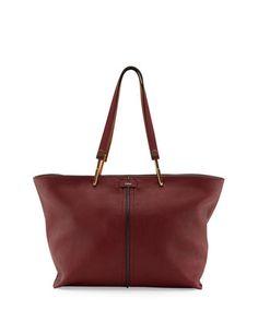 Keri+Medium+Grained+Leather+Tote+Bag,+Dark+Red+by+Chloe+at+Neiman+Marcus.