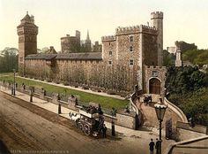 Castell Caerdydd o'r De Ddwyrain. Cardiff Castle from South East. 1890