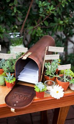 mailbox for wedding cards- I want to do this so I might need some flowers for this too!