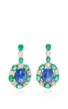 18 K Gold Diamonds, Emeralds & Tanzanite Princess Drop Earrings by AMRAPALI for Preorder on Moda Operandi
