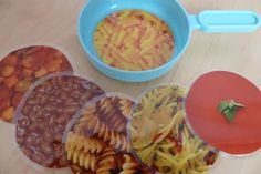 What a great idea for your dramatic play area! Laminate photos of food to fit your toddler and preschooler's pots, pans, and plates!