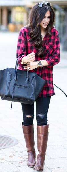 Tartan Button Up Fall Street Style Inspo by The Sweetest Thing