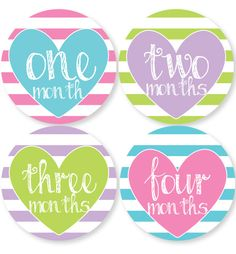 Pastel Hearts Baby Month Stickers