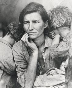 "The desperation and courage to continue to hope is so strong in this picture....it pays tribute to the previous generation in my family who have had to overcome war, poverty, lack of education and more...so grateful<3  Dorothea Lange, ""From the Resettlement Administration"" (1936, 1971)"