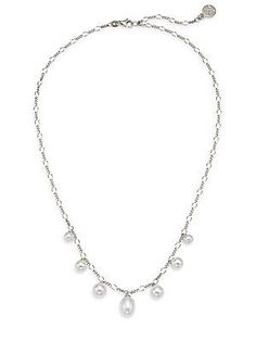 6MM-9MM White Round Pearl & Sterling Silver Chain Necklace