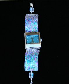 turquoise wavy rainbow dichroic fused glass watch