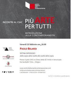 Conferenze Più arte per tutti #CIAC #Foligno
