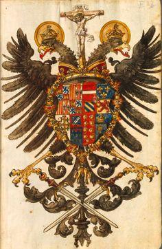 Wappenbuch (BSB Cod.icon. 392 d), [S.l.] Süddeutschland, 1. Hälfte 16. Jh. -- f°VIr: Kaiser Friedrich III.