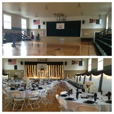 The gymnasium decorated for the reception and  and a picture of it after clean up. Major difference!
