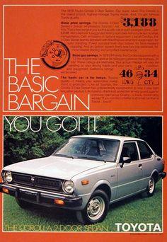 1978 Toyota Corolla 2-Door Sedan original vintage advertisement. Photographed in vivid color. MSRP started at $3,188.