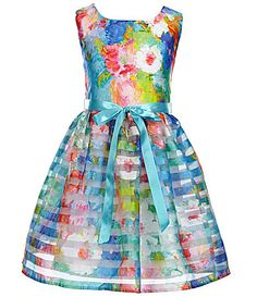 Honey and Rosie Big Girls 716 ShadowStriped FloralPrinted Skater Dress #Dillards