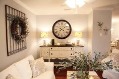 A little down the line... Love this piece against the wall for across the door, would look good with the wreath over it as you walk in. Window to left, seating to right. Couch on rt wall, chairs and range in middle Fixer Upper   Season 1 Episode 7   The North 40th Street Story