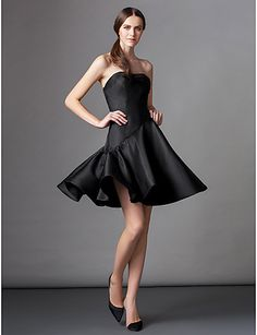 A-Line Fit & Flare Strapless Knee Length Satin Cocktail Party Homecoming Dress with Pleats by TS Couture®  EUR €52.92