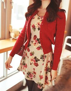 Floral print dress and red cardigan Floral Cardigan, Red Cardigan, White Floral Dress, Buy Dress, Dress Up, Glamour, Date Outfits, Spring Outfits, Red Sweaters