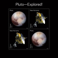 Pluto–Explored! souvenir sheet, dedicated on May 31, 2016 at the World Stamp Show in NYC.