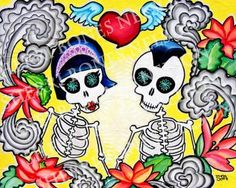 Punk Skeletons in Love Art Print. Tattoo Rockabilly Couple. Gift. Anniversary, Wedding, engagement.  Day of the Dead Art Print