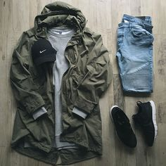 Outfit grid - Parka and jeans