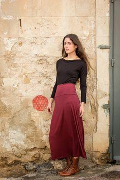 Bordeaux Maxi Skirt Long High Waisted Maxi by AlexWomenCreations