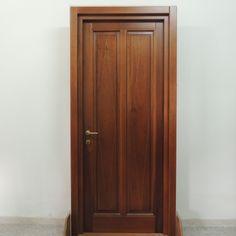 Porta in massello di toulipier con pannello in legno e vetro