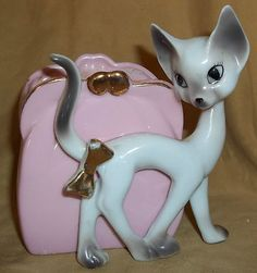 Sell one like this     Vintage Siamese Cat w/Pink Purse Porcelain Wall Pocket