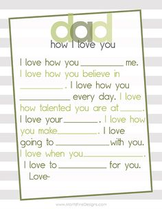 Father's Day Free Printables, Great Last Minute Idea