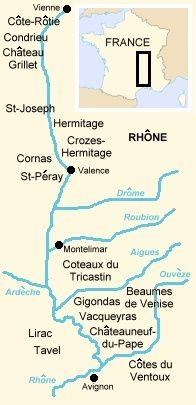 Map of the wine regions of the Rhone Valley