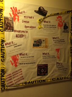 Need an Idea for October for A bulletin board? Tell residents about resources on campus they could use in case of a Zombie Apocalypse!