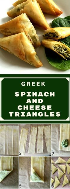 These spinach and cheese triangles are inspired by the popular Greek Spanakopita, the savoury pastry that can either have the shape of a pie or triangles. The make a fantastic appetizer or healthy snack and can be enjoyed either warm or cold. Learn how to fold phyllo pastry very easily.